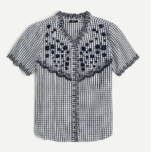 NWT J. Crew Embroidered gingham top black white